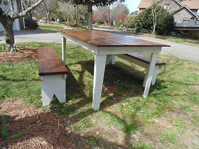 Farm Style Table And Benches Ebay