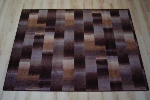 Karo Patchwork Teppich braun beige Velours umkettelt 200x230 Teppichboden
