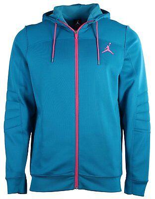 NIKE Jordan Men/'s Nike S Flight OD Zip Up Hoodie Teal//Pink 632040 309