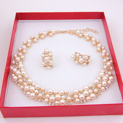 Fashion Pearl Necklace Set Dubai Gold Plated African Beads Bridal Jewelry Sets