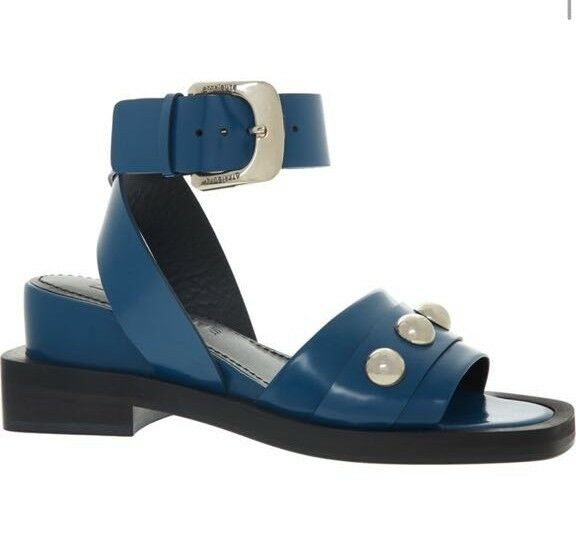 Descuento por tiempo limitado ATTRIBUTE LONDON Alice Blue Ankle Wrap Leather Sandals 275