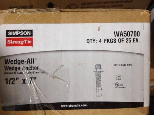 """1//2 x 7/"""" Red Head Simpson Strong-Tie WA50700 Wedge-All Anchor Stud 25PK"""