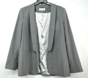 Calvin Klein Womens Gray Shawl Collar Long Sleeves Open Front Blazer Jacket 16