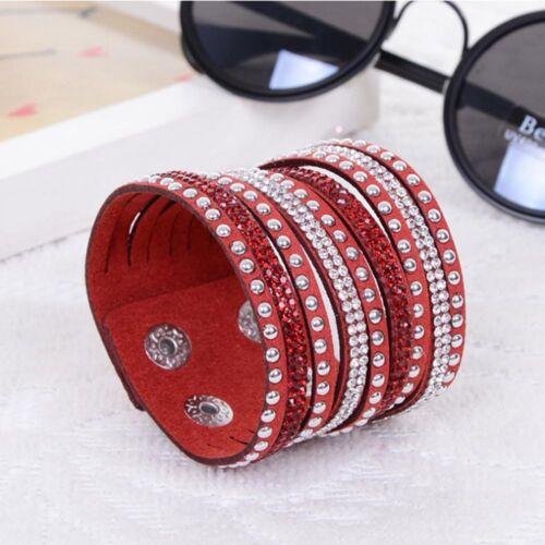 Wrap multicouche cuir Strass Large Mignon Punk cristal Cuff Bangle Bracelet