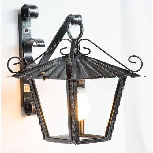 Lanterna lampione da esterno in ferro battuto con vetri braccio da parete 30 cm