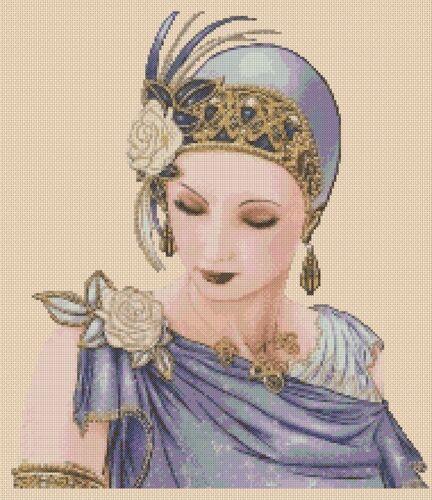 GRATIS UK P /& P. Cross stitch chart Art deco Lady 180 Anchor-Flowerpower 37-UK ..