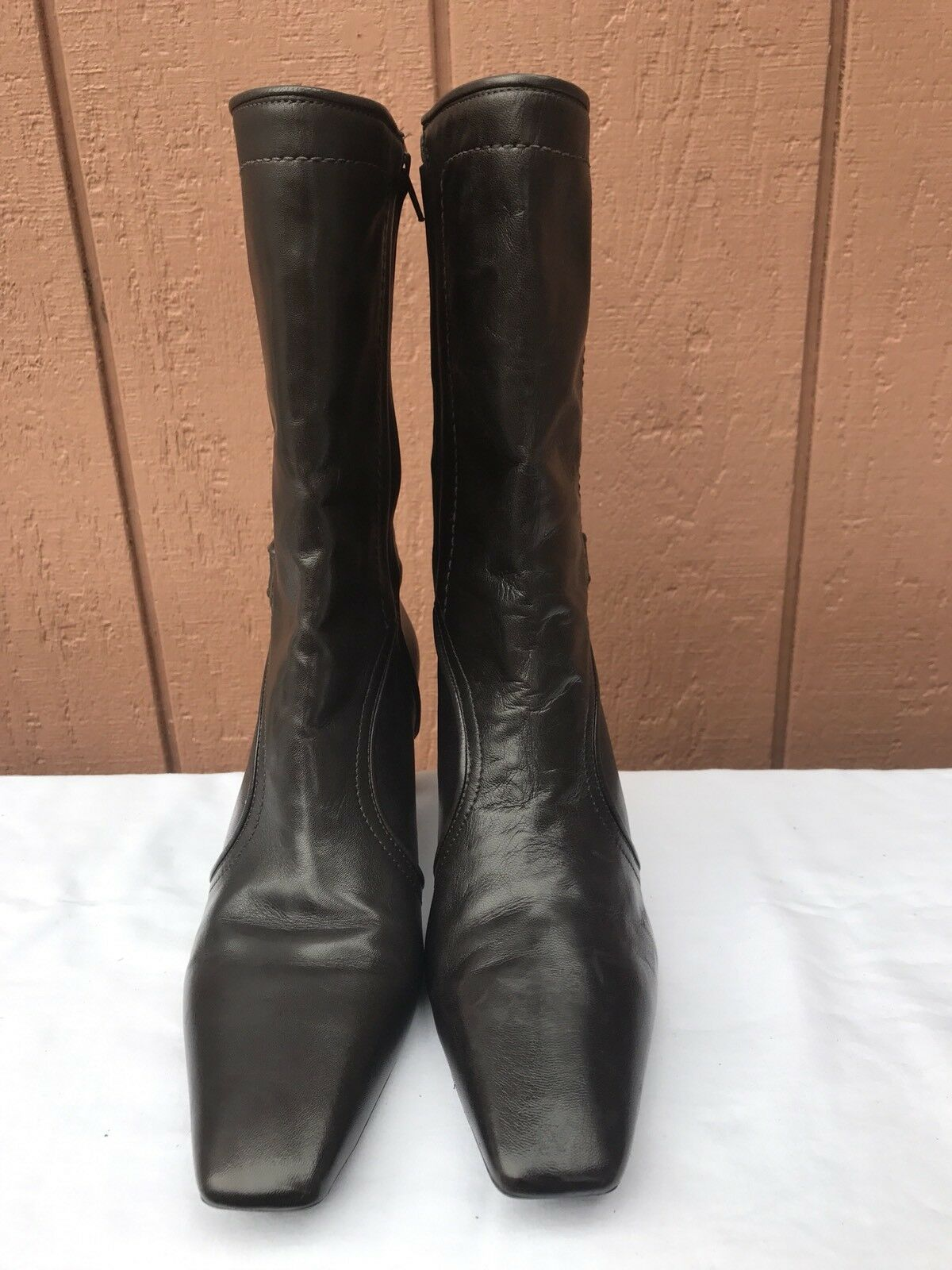 Cole Haan Janna Brown Pelle Mid Calf Ankle Strap Side Zip Heel Boot Donna 10B
