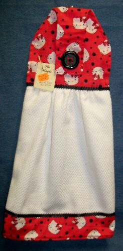 **NEW** Hello Kitty Toss w//Black Dots White Hanging Kitchen Hand Towel #756