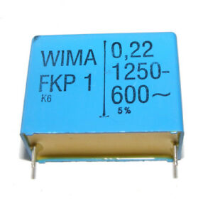 5x FKP1-1N//2000 Capacitor polypropylene 1nF 2kVDC 22.5mm /±5/% 5x14x26.5mm WIMA