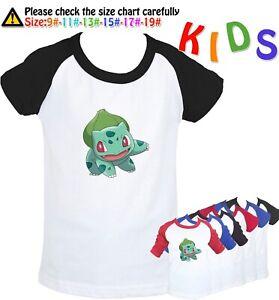 Pikachu Pokemon Charmander Bulbasaur Design Kids Boys Girls Graphic Tee T-Shirt