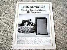 Advent model 3 speaker brochure