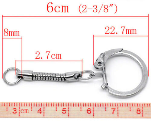 Quality Steel Key Rings With Locking Clasp /& Snake Chain Nickel Plated Silver Uk