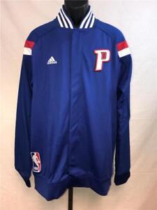 New Detroit Pistons Mens L-2XL-3XL-4XL-5XL +2 Blue On Court Warm Up Jacket