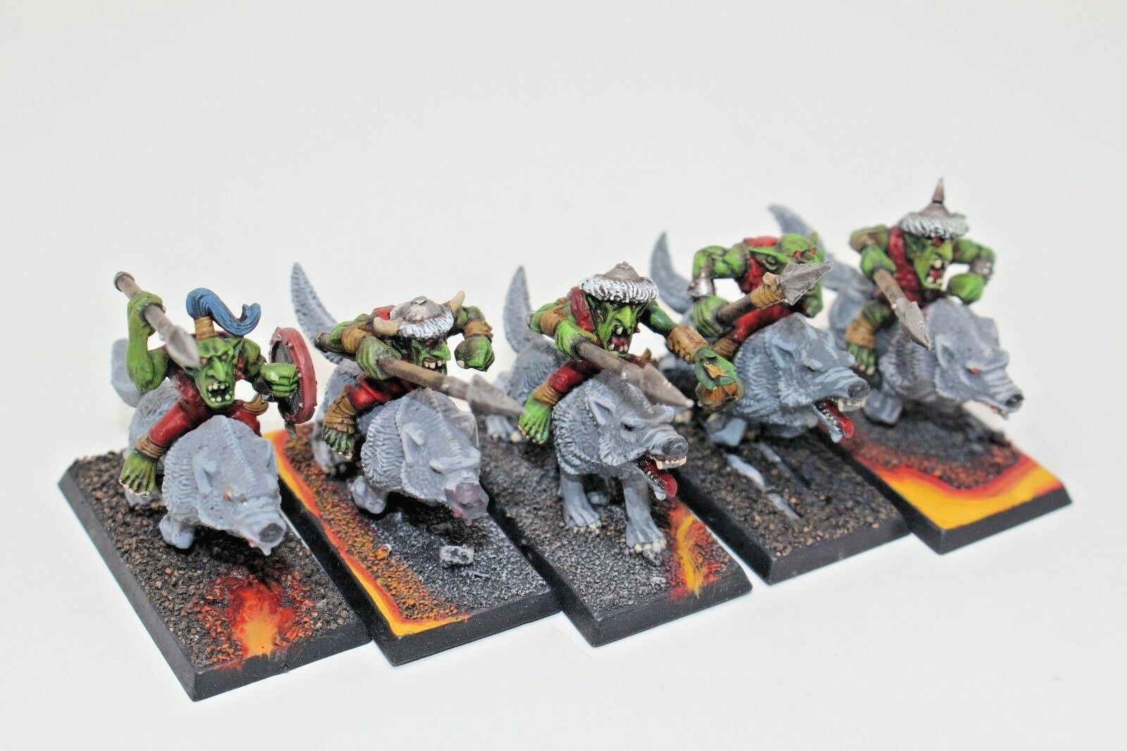 Warhammer Orcs and Goblins Wolf Riders Well Painted - JYS63