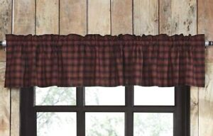 Details about CUMBERLAND Valance Black/Red Plaid Cabin Lodge Hunting Cotton  Lined VHC 16x60