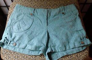 Charlotte Russe Woman's Linen Blend Short Shorts, Green, Sz 9