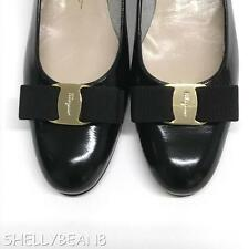SALVATORE FERRAGAMO VARA Low Heels Pumps Flats BLACK Patent 9.5 N LOGO BOW NEW!