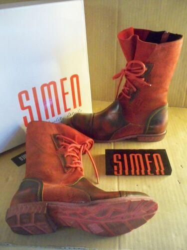 Botas de cuero rojo RV   con cordones talla 36/8930 ancho g Simen