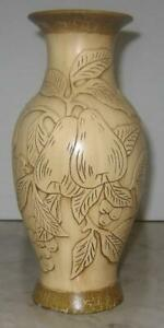 Vase-Pears-Leaves-Tree-10-034-large-Neutral-colors-sculpted-relief-Antique-look