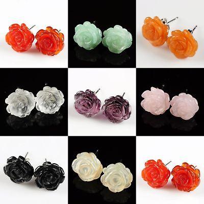 12mm Carved Gemstone cute rose flower stud earrings 0.5 inch Wholesale Lot