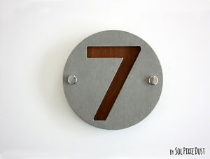 Door Number Sign Plaque One Number Concrete /& Wood Modern House Numbers