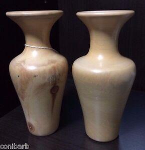 Vintage Pair Aspen Wood Vases Spinning Aspen Studios Unique Set Spun Wooden Vase