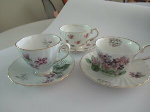 3-English-China-Tea-Cups-Saucers-Stanley-Colclough-Royal-Patrician-February