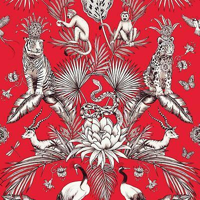 Menagerie Animal Luxe Wallpaper Leopard Tiger 2003 Belgravia Decor Red