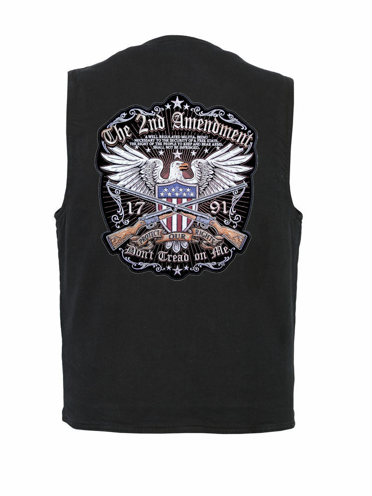 Mens Concealed Carry Denim Vest W Second Amendment Gun Rights Eagle Patch