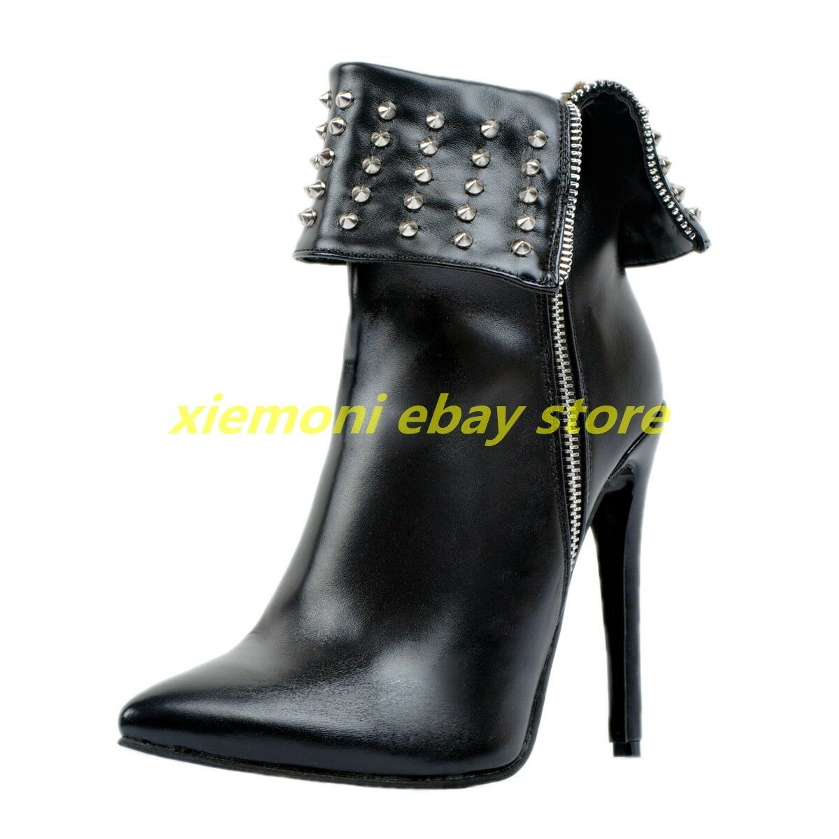 Womens Punk Biker motorcycle Ankle Boots Decor Zipper Stilettos High Heel Shoes