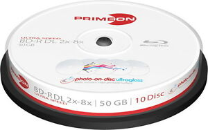 20-Primeon-Rohlinge-Blu-ray-BD-R-DL-full-printable-ultragloss-water-50GB-Spindel
