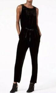 a1b955645966 Image is loading EILEEN-FISHER-Black-Velvet-Slouchy-Drawstring-Waist- Jumpsuit-