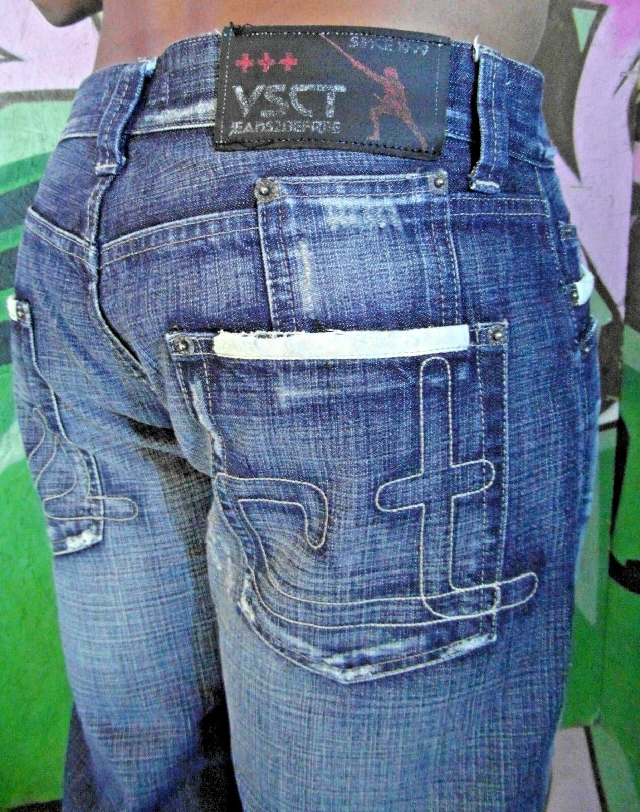 MENS VSCT CLUBWEAR JEANS2BEFREE MEDIUM JEANS blueE DENIM DISTRESSED TROUSERS 34