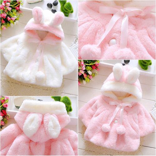 Baby Newborn Girl Faux Fur Hooded Cape Rabbit Ear Cute Coat Cloak Outwear Jacket