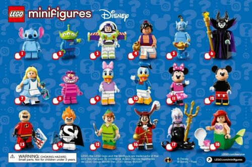 tick list Disney Series 1 check sheet Lego Minifigure check list