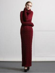 Womens-Trendy-Winter-Turtle-Neck-Sweater-Dress-Long-Sleeve-Cable-Knit-Dress-Slim