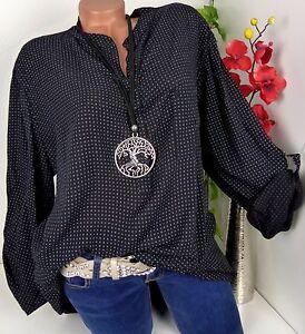 Italy-Bluse-Oversize-Shirt-Hemd-Tunika-Lagenlook-Fischerhemd-Schwarz-48-50