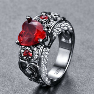 Desigh-Geometry-Rings-Heart-Shape-Red-Ruby-Jewelry-Angel-Wings-Elegant-Princess