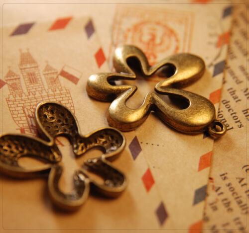 8x metal colgante Charm flor para joyas DIY bricolaje bronce 30x32mm mb1326