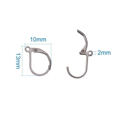 100 Pcs Acier Inoxydable 201 leverback earrings Findings Steel Color 13x10x1.5mm
