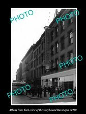 OLD LARGE HISTORIC PHOTO OF ALBANY NEW YORK, THE GREYHOUND BUS DEPOT c1930