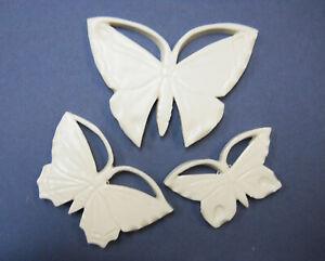 BUTTERFLY Handmade White Porcelain Ceramic Wall Decor, Mosaic Art Tiles Set of 3