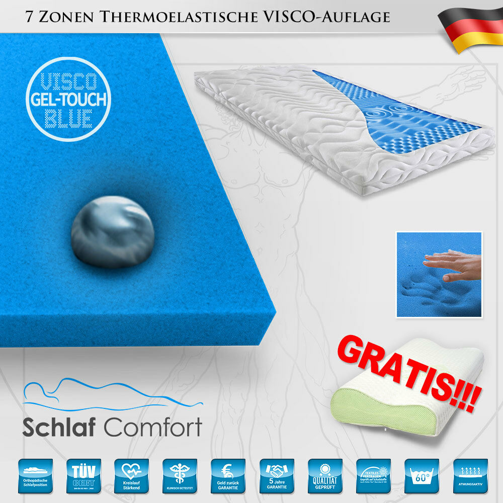 Viscoelastische GEL-TOUCH-Blau® Matratzenauflage 7 Zonen Topper 90x200x8cm