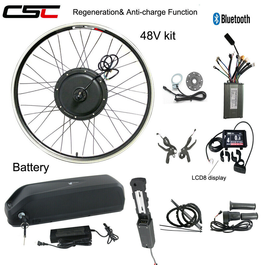Ebike Conversion Motor Hub Wheel  Kit 48V 1500W Electric Bicycle With Battery  classic style