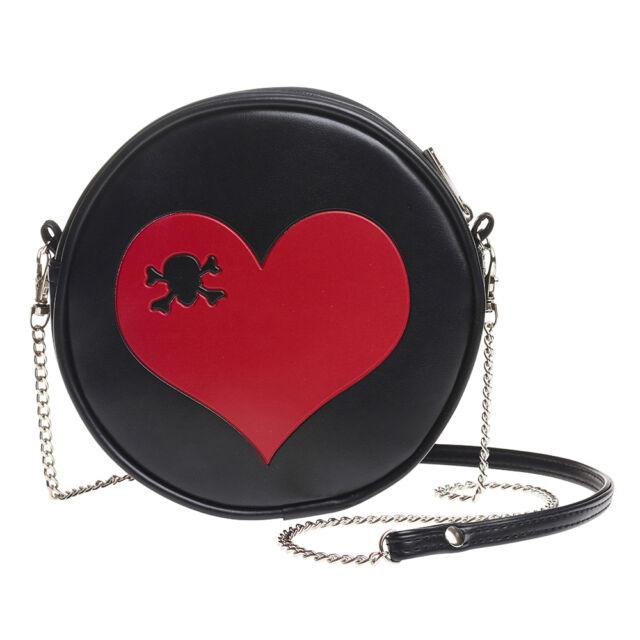 Red Skull Heart Black Purse Round Vinyl Shoulder Bag Handbag Alchemy Gothic  GB1