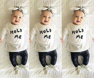 Baby Girls Boy Kids Summer Infant T-shirt Tops Clothing+PU Leather Pants Outfit
