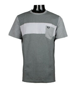Fred-Perry-Men-039-s-Textured-Pique-Steel-Marl-T-Shirt-M8202-l-xl-2xl
