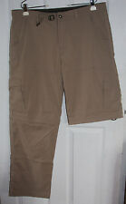 Prana Convertible Pants Zip-Off Shorts XL Tan Khaki Nylon Spandex Blend Stretchy