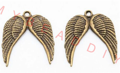 50 Pcs Antique Silver Retro Gold Wing Charms Pendant DIY For Jewelry Making