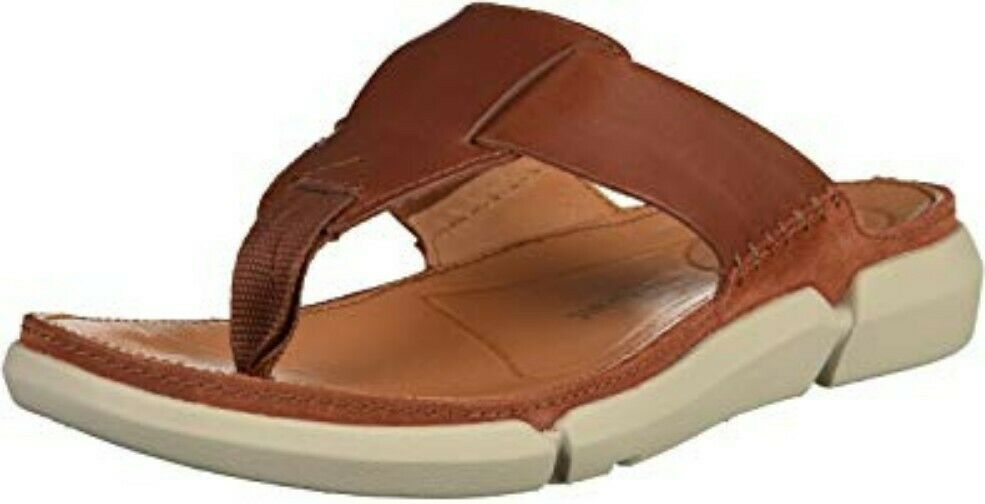 Clarks Mens Flip Flop Thong Sandals TRISAND POST Tan Leather   43 TRIGENIC